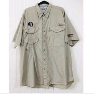 Columbia Men's XXL 2X FSU Fishing Shirt Vented S/S